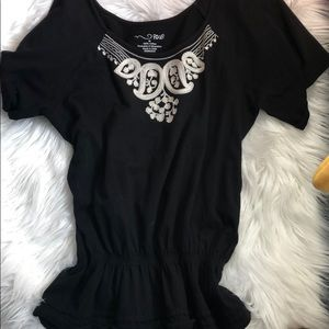 Black Embroidered Boho Top